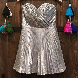 Strapless silver sweetheart dress
